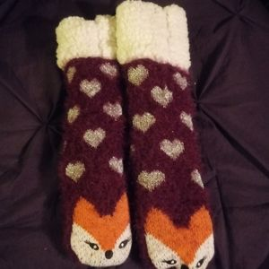 *Free w/bundle* Fluffy Purple Fox Socks size small